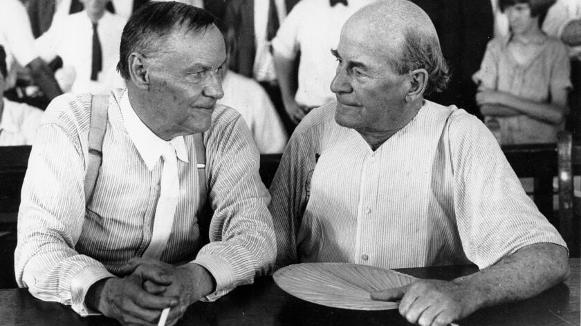 Clarence Darrow, left, and William Jennings Bryan during the Scopes trial in Dayton, Tenn., in 1925. Darrow was one of three lawyers sent to Dayton by the ACLU.