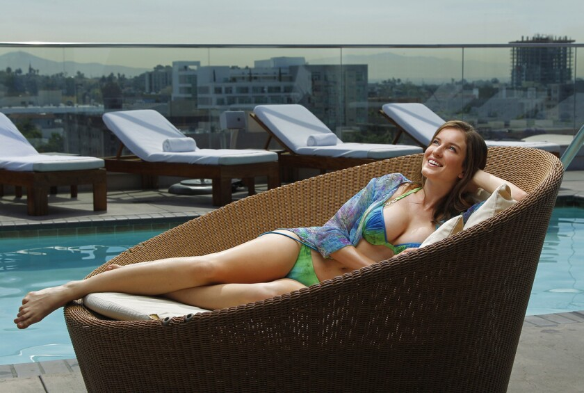 Holly Parker models Dolcessa Swimwear (www.mydolcessa.com) at Andaz San Diego.