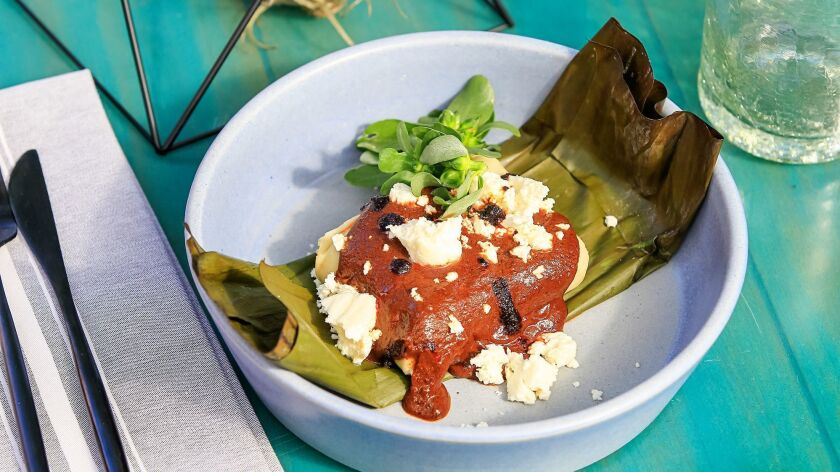 SAN DIEGO, CA June 28th, 2018 | This is the Tamale Con Mole Poblano dish at El Jardin restaurant at