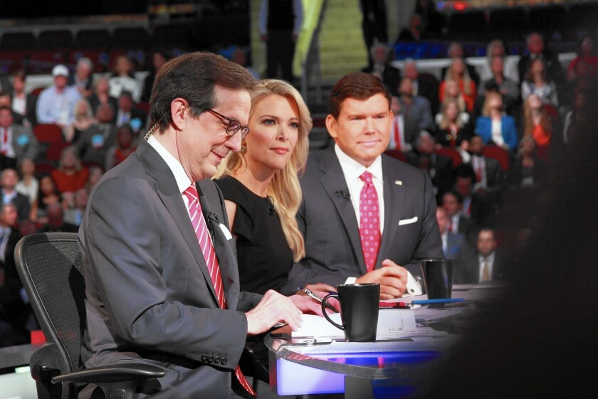 A record 24 million viewers watched the first Republican primary debate on Aug. 6 with Fox News moderators, from left, Chris Wallace, Megyn Kelly and Bret Baier.