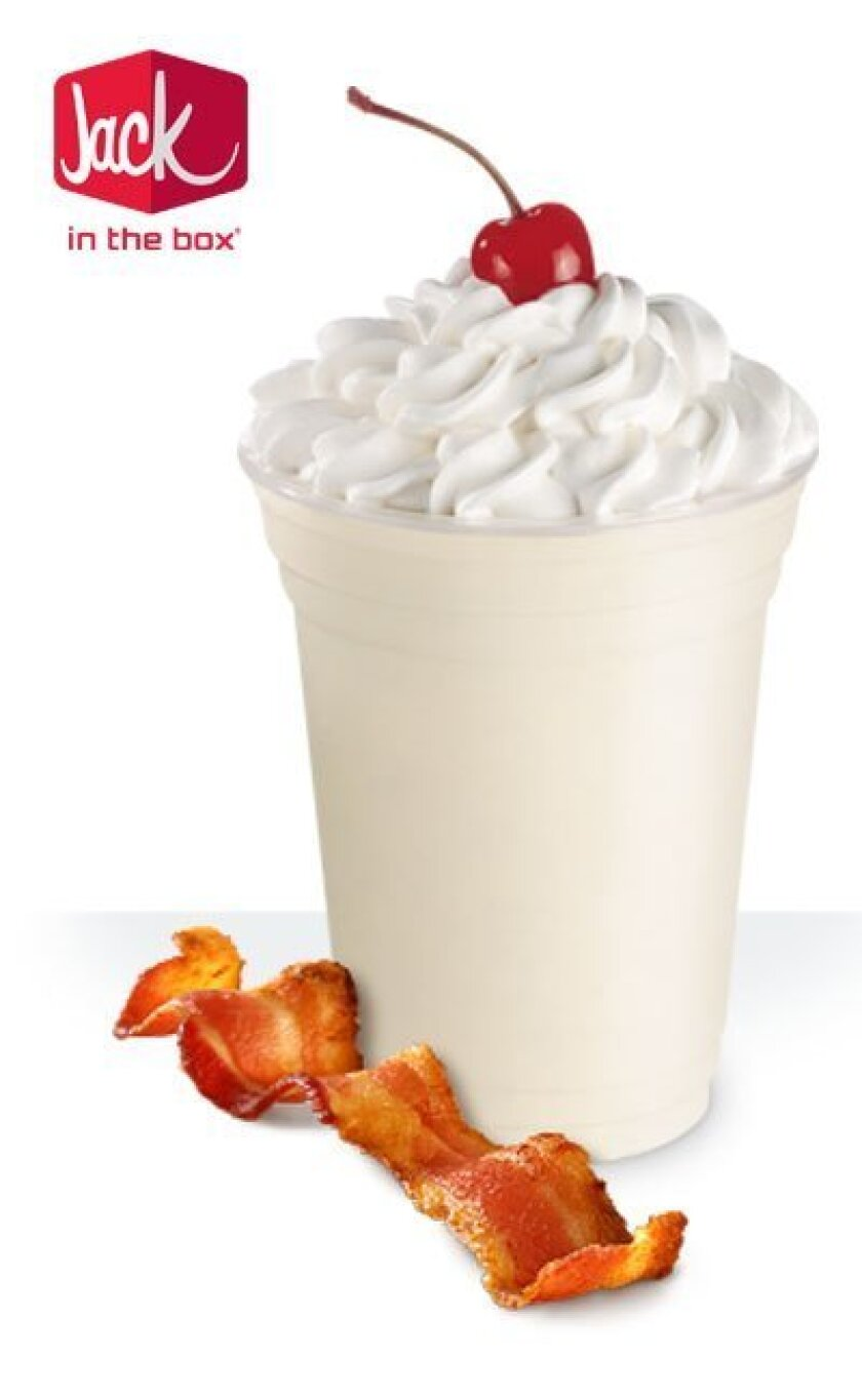 Alas, the side of bacon does not come with a Bacon Shake. This is a photo illustration.