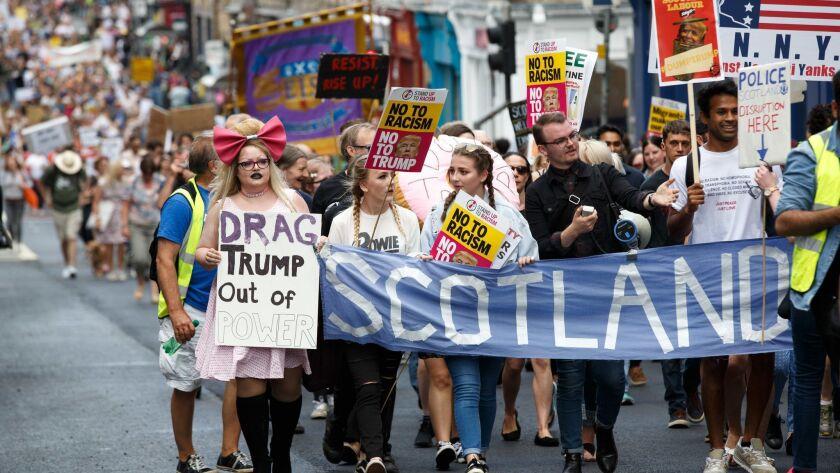 Protests against US President Trump visit to the UK, Edinburgh, United Kingdom - 14 Jul 2018