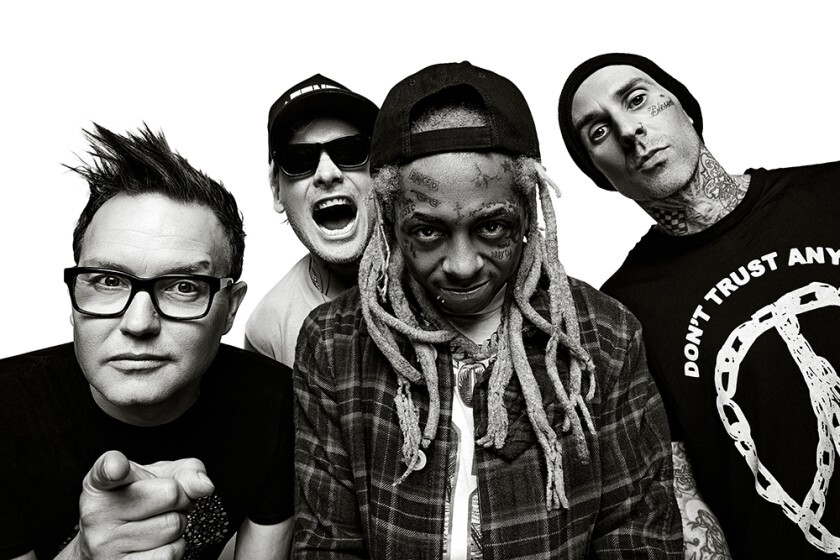 The Poway-bred pop-punk trio blink-182 is on tour with rapper Lil Wayne  this summer. Shown above, from left, are Mark Hoppus, Matt Skiba, Lil Wayne and Travis Barker.