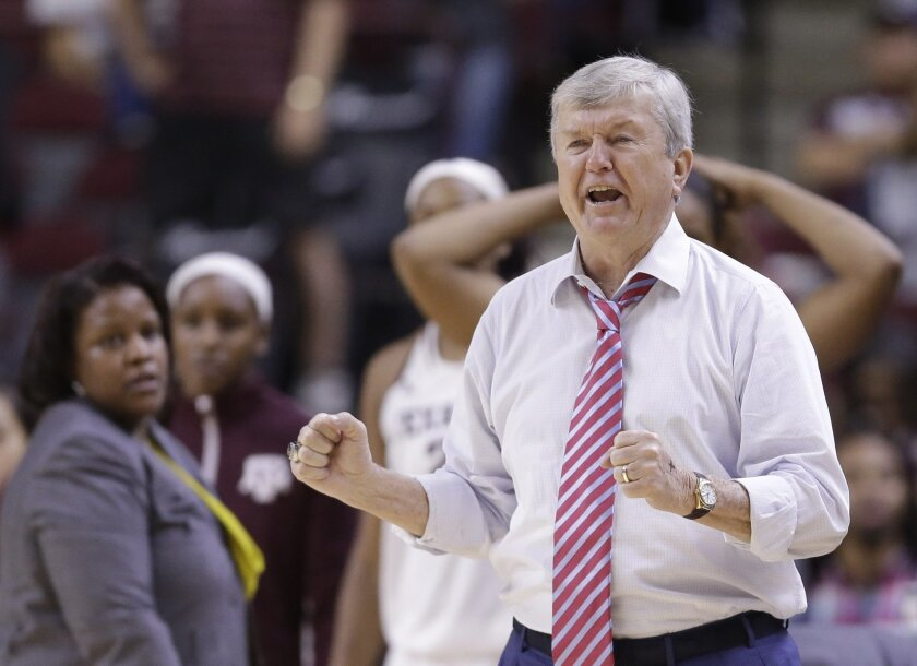 Texas A&M coach Gary Blair yells to his players during the second half of an NCAA college basketball game against the Duke, Sunday, Nov. 30, 2014, in College Station, Texas. Texas A&M won 63-59. (AP Photo/Pat Sullivan)
