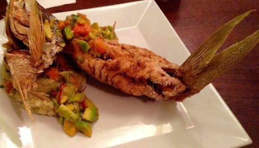 Jose Enrique's crispy yellowtail snapper with cooling papaya-avocado salsa