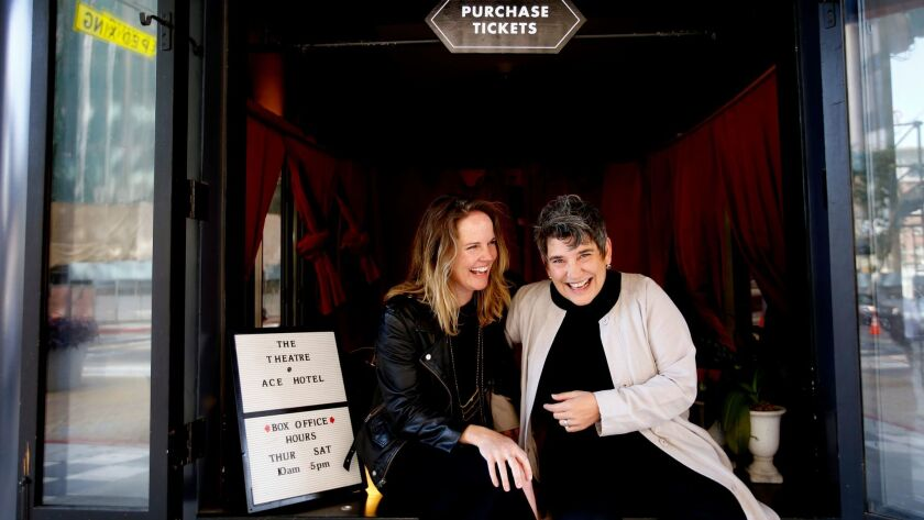 Kelly Sawdon, left, partner and executive vice president of Ace Hotels, and Kristy Edmunds, right, artistic director for Center for the Art of Performance at UCLA, photographed at the Ace box office in downtown L.A.