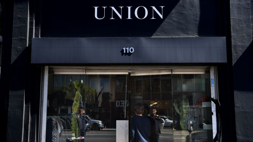 An outside look at the menswear shop Union on La Brea Avenue in Los Angeles that has become a menswe