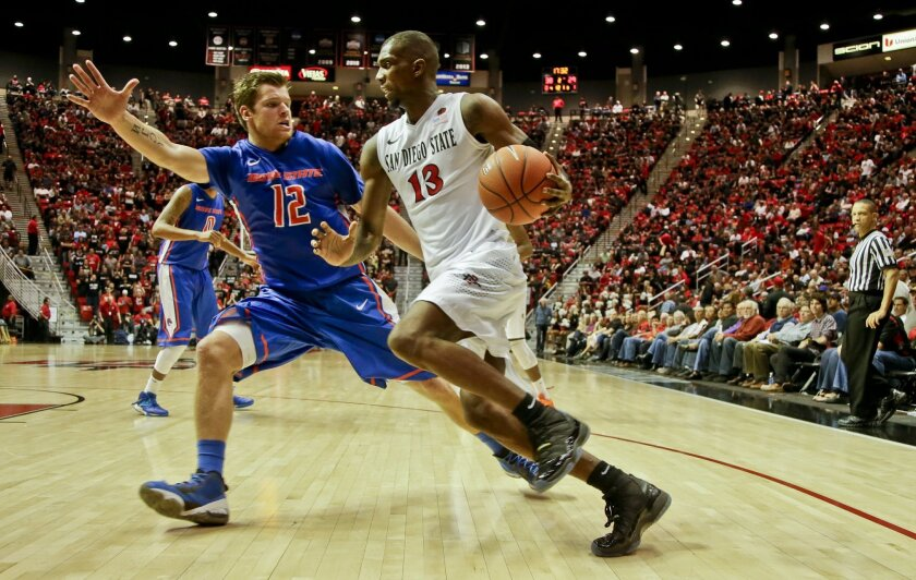 San Diego State forward Winston Shepard drives the baseline against Boise State guard Igor Hadziomerovic while scoring two of his 16 points during the second half of San Diego State's 69-66 victory in an NCAA college basketball game Wednesday, Jan. 8, 2014, in San Diego. (AP Photo/Lenny Ignelzi)