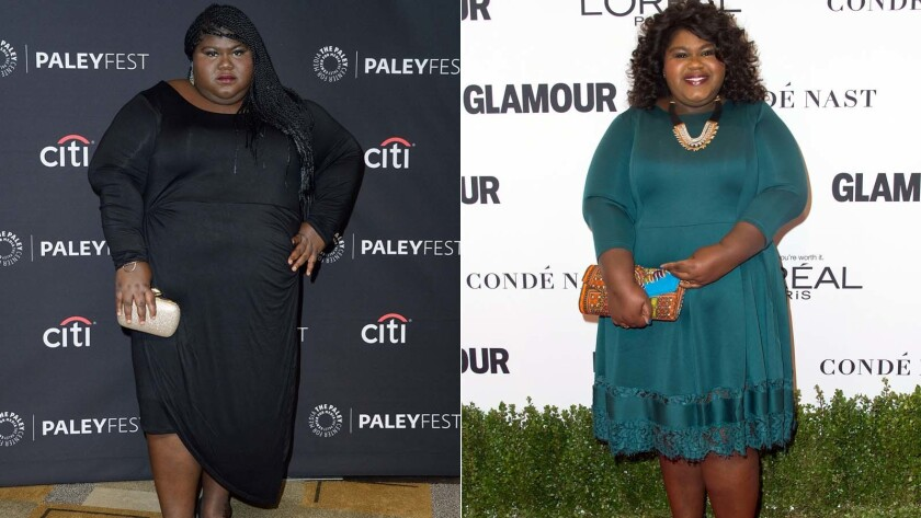Gabby Sidibe on March 18, 2016, left, and on Nov. 14, 2016.