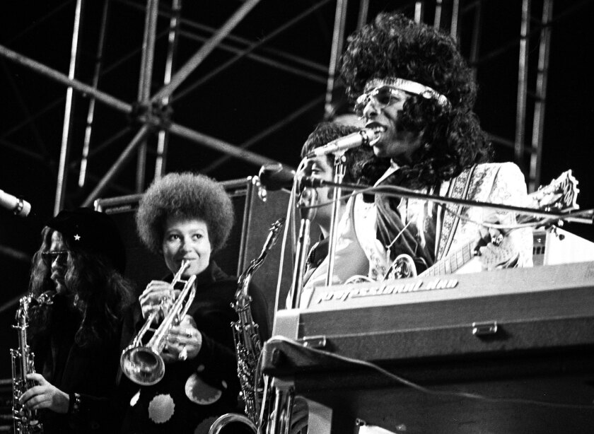 Sly and The Family Stone perform onstage at the Los Angeles Free Clinic Benefit, circa 1972. Stone's $5-million royalties judgment is in jeopardy.