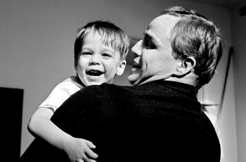 "Marlon Brando and young Christian Brando are seen in Stevan Riley's ""Listen to Me Marlon."""