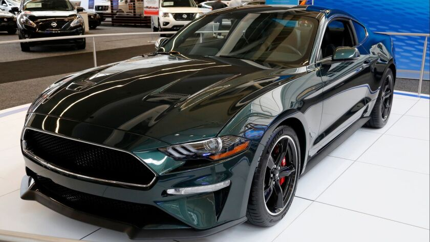 A 2019 Ford Mustang Bullitt on display at the Pittsburgh Auto Show in February. As Ford exits the sedan business, the Mustang is one model that it is keeping.