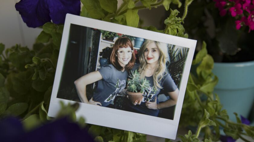 LOS ANGELES — May 9,2018: An instant photograph of actors Erin McDonnell and Brooke Trantor as the