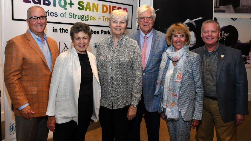 Robert Gleason (Community Advisory Council co-chair), Lillian Faderman (exhibit curator), Christine Kehoe, Tom and Jane Fetter (he's SDHC board president), Scott Peterson (SDHC board member)