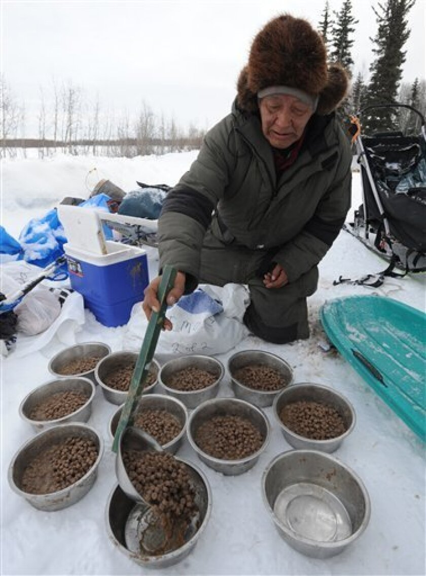 Veteran Iditarod musher Rudy Demoski prepares food for his dog team at the McGrath checkpoint on Wednesday, March 6, 2013, at Nikolai Airport in Nikolai, Alaska. (AP Photo/The Anchorage Daily News, Bill Roth)  LOCAL TV OUT (KTUU-TV, KTVA-TV) LOCAL PRINT OUT (THE ANCHORAGE PRESS, THE ALASKA DISPATCH