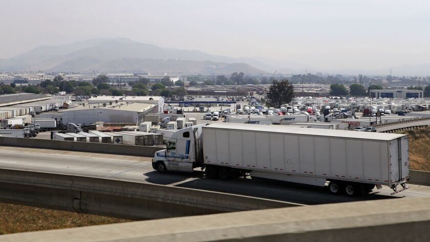 A warehousing and trucking facility in Ontario, Calif. Warehousing and transportation-related jobs in San Bernardino County jumped 16.2% from 2014 to 2015.