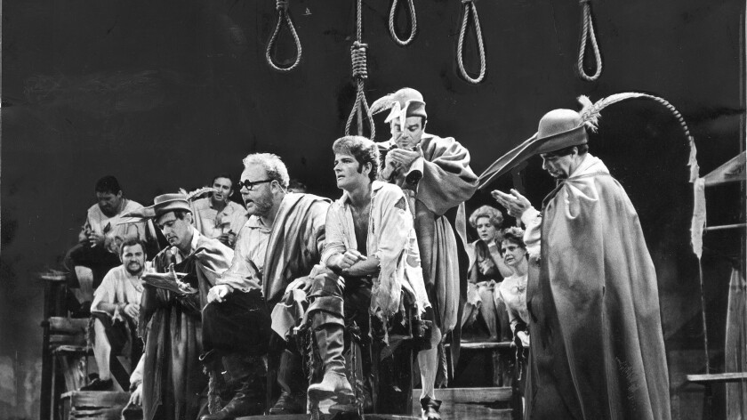"Davidson's 1966 production of ""Candide,"" whose cast included Carroll O'Connor, in glasses."