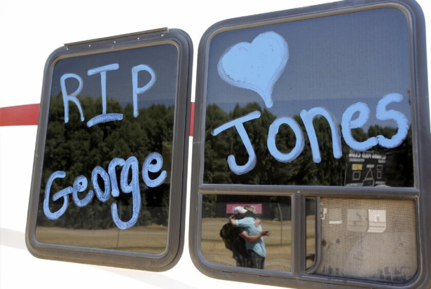 Country music singer George Jones was remembered on a camper window on the first day of the Stagecoach Country Music Festival at the Indio Polo Fields on April 26, 2013.