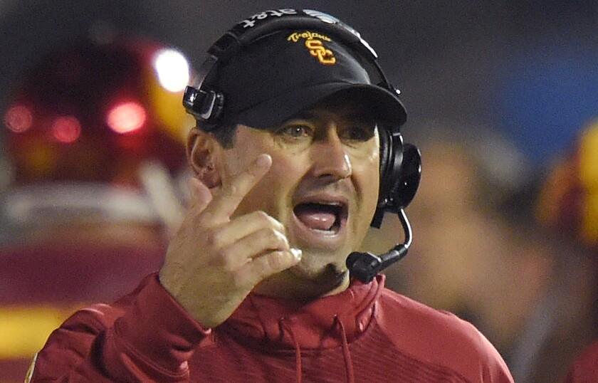 Steve Sarkisian coaches USC on November 22, 2014.