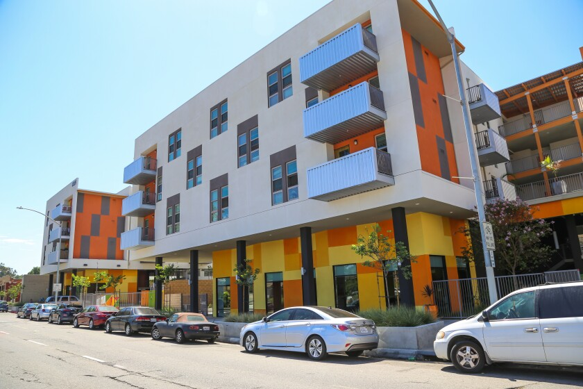 Street view of Encanto Village, an affordable housing complex on Imperial Avenue.