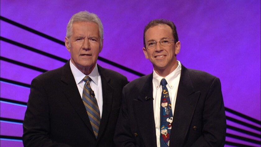 Jeopardy host Alex Trebek and Jonathan Shulman. Courtesy of Jeopardy Productions, Inc.