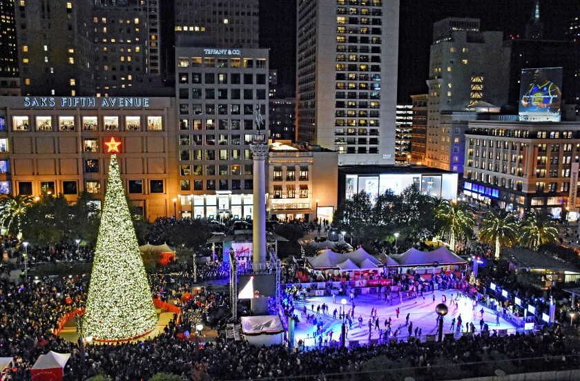 Union Square San Francisco Christmas Tree Lighting 2020 San Francisco: your holiday weekend guide   Los Angeles Times