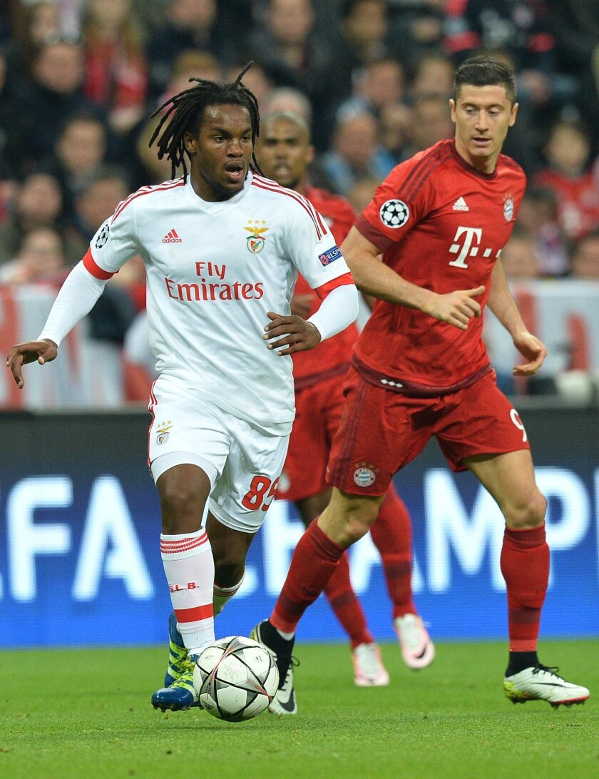 FILE - In this April 5, 2016 file photo, Benfica's Renato Sanches, left, gets the ball past Bayern's Robert Lewandowski during their Champions League quarterfinal first leg soccer match at the Allianz Arena in Munich. Many nations are betting on youth at the European Championship, giving promising