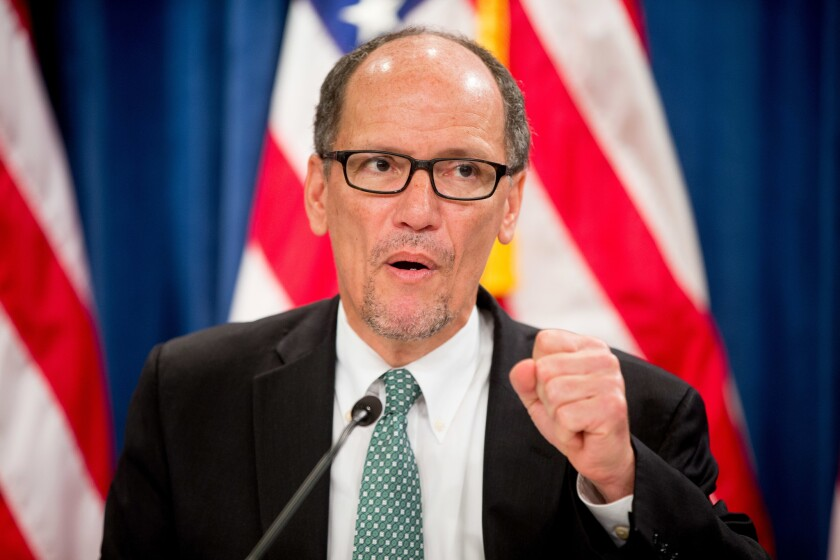 Labor Secretary Tom Perez, shown speaking at a June news conference, has launched a review of Wells Fargo & Co.
