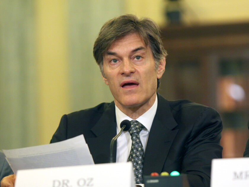 Dr. Mehmet C. Oz testifies on Capitol Hill in Washington, D.C., on June 17 before the Senate subcommittee on Consumer Protection, Product Safety, and Insurance hearing.