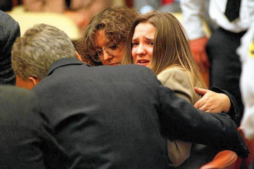 "Louise Woodward reacts to her verdict in an image from the movie ""The Syndrome."""