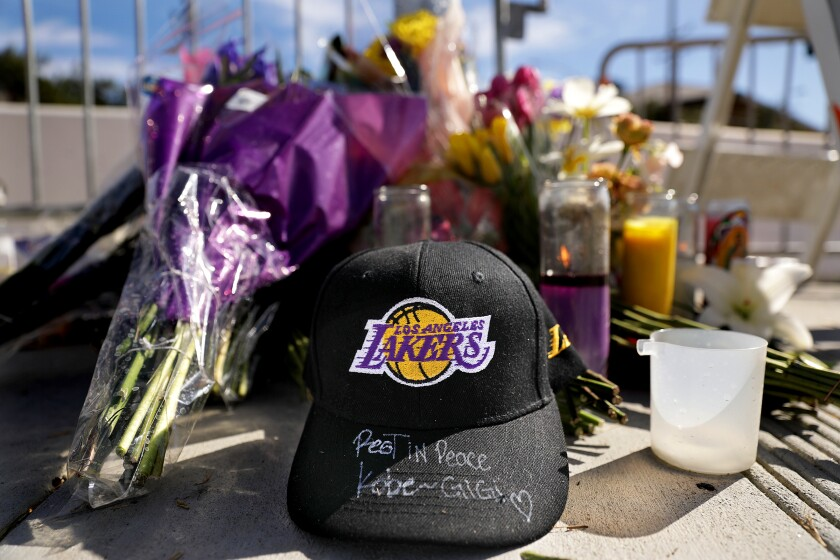 A memorial for Kobe Bryant and daughter Gianna