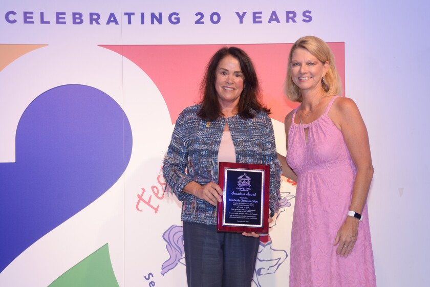 Kimberly Cripe, founder's award recipient, with Festival of Children founder Sandy Segerstrom Daniels.