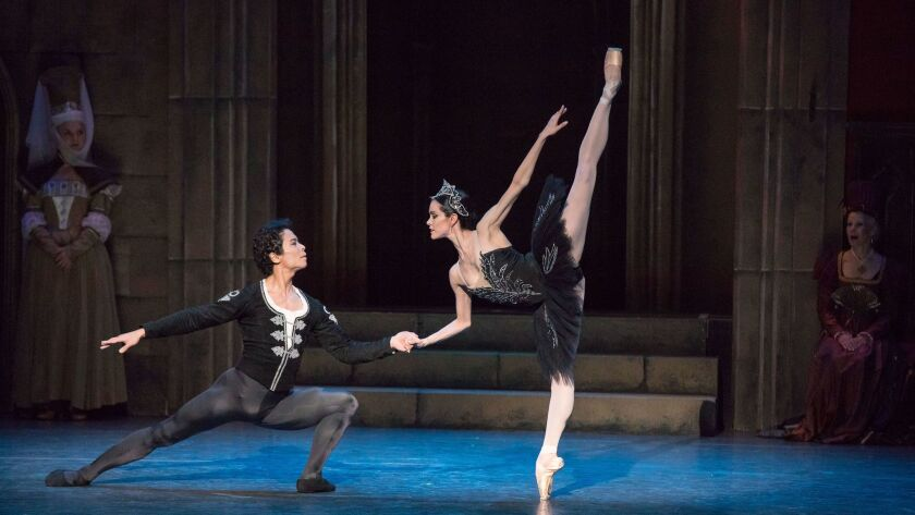 "Kenta Shimizu, left, and Petra Conti in Los Angeles Ballet's ""Swan Lake."""