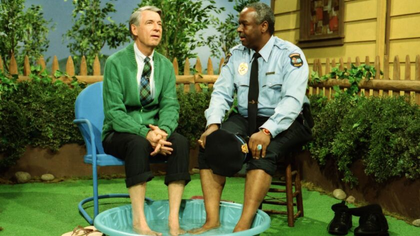 (L-R) - Fred Rogers with Francois Scarborough Clemmons from his show Mr. Rogers Neighborhood in the