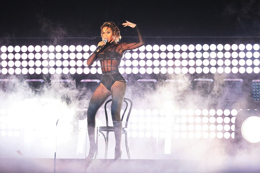 Beyoncé performs onstage at the 56th Annual Grammy Awards at Staples Center in January.