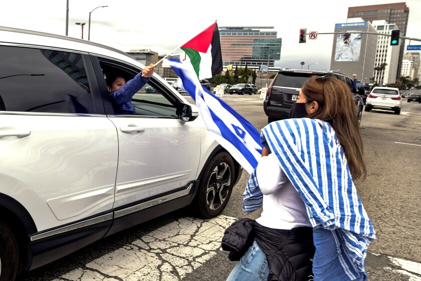 A motorist holding a flag interacts with a demonstrator