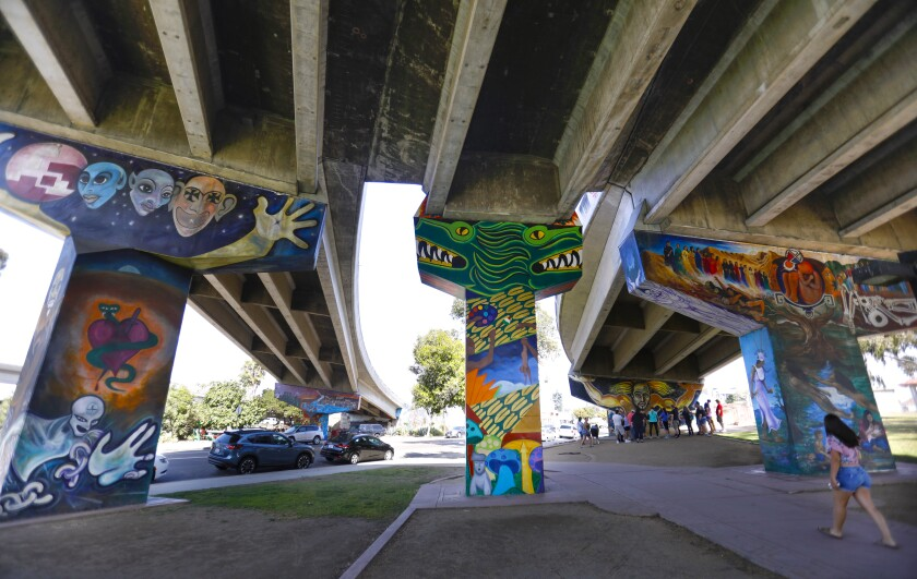 Murals adorn the sides of the columns supporting the portion of the San Diego-Coronado Bridge in Chicano Park.