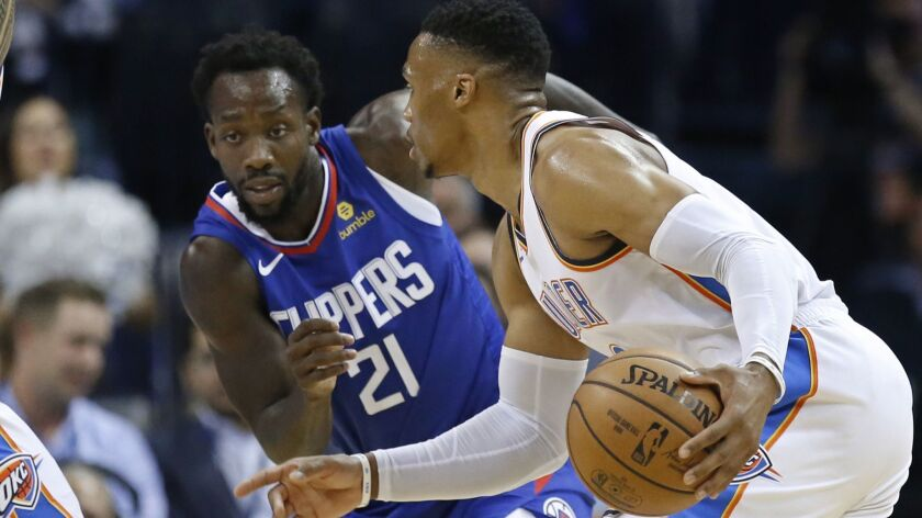 Thunder guard Russell Westbrook tries to drive against Clippers guard Patrick Beverley during a game earlier this season.