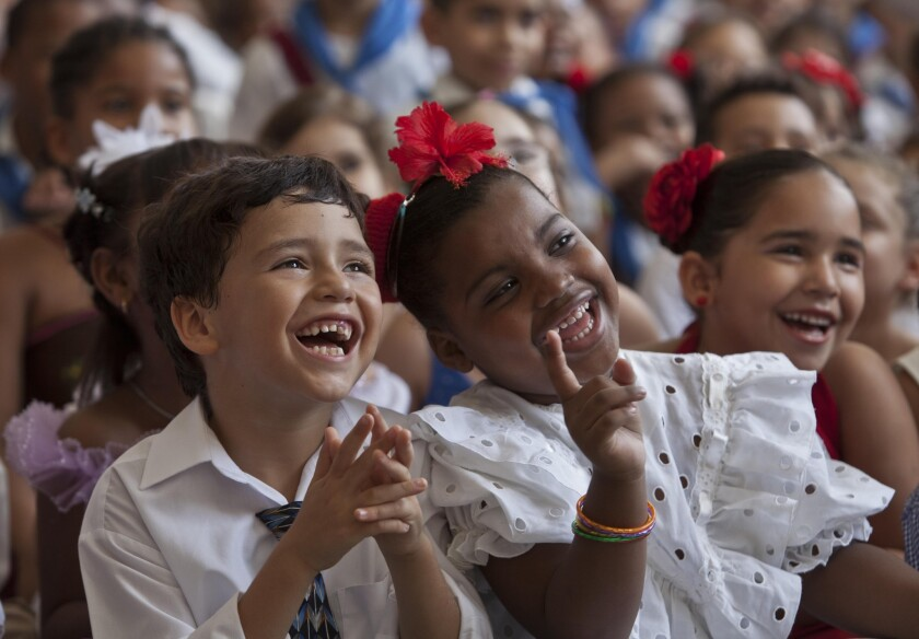 Cuban schoolchildren are filled with mirth, which new research shows enables their brains to enter the highest state of cognitive processing.