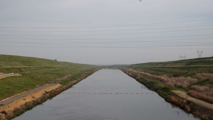 """Water from the Sacramento-San Joaquin Delta flows into the C.W. """"Bill"""" Jones Pumping Plant in Tracy, Calif."""