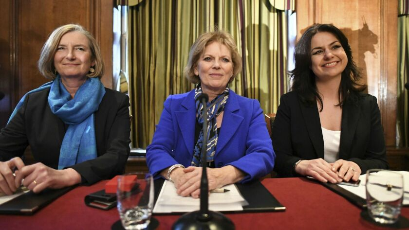 Pro-European British lawmakers, from left, Sarah Wollaston, Anna Soubry and Heidi Allen quit the governing Conservatives to join a newly formed centrist alliance dubbed the Independent Group.