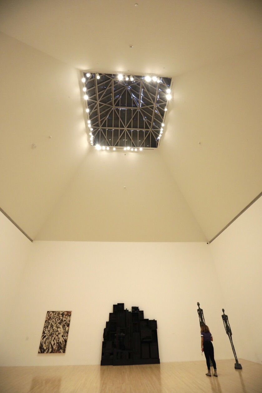 LOS ANGELES, CA - March 8, 2019: One of the skylights in the gallery of the MOCA Grand. The 2019 Pri