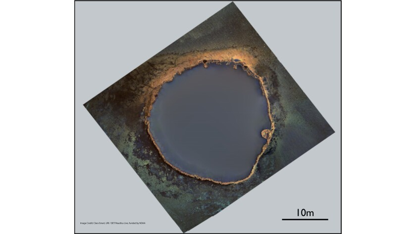 A photo mosaic of the brine pool. The underwater lake rises 12 feet above the ocean floor and is 100 feet in circumference.