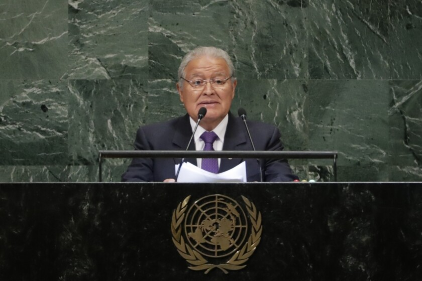 FILE - In this Sept. 26, 2018 file photo, El Salvador's President Salvador Sanchez Ceren addresses the 73rd session of the United Nations General Assembly at U.N. headquarters. Prosecutors in El Salvador have issued an arrest warrant for Sánchez Cerén in July 2021 on charges of embezzlement and money laundering, according to Attorney General Rodolfo Delgado on Thursday, July 22, 2021. (AP Photo/Frank Franklin II, File)