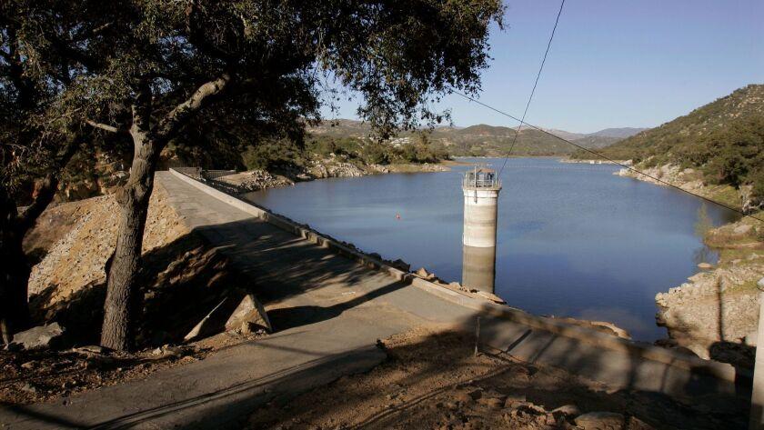 March 10, 2011, Escondido, California, USA_View of Lake Wohlford Dam. Photo Credit: CHARLIE NEUMAN/S
