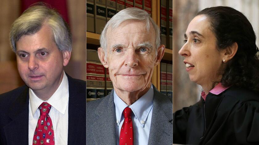 From left: Judge Richard R. Clifton, shown in 2002, Judge William Canby, shown in 2015, and Judge Michelle T. Friedland, shown in 2014, serve on the 9th Circuit Court of Appeals.