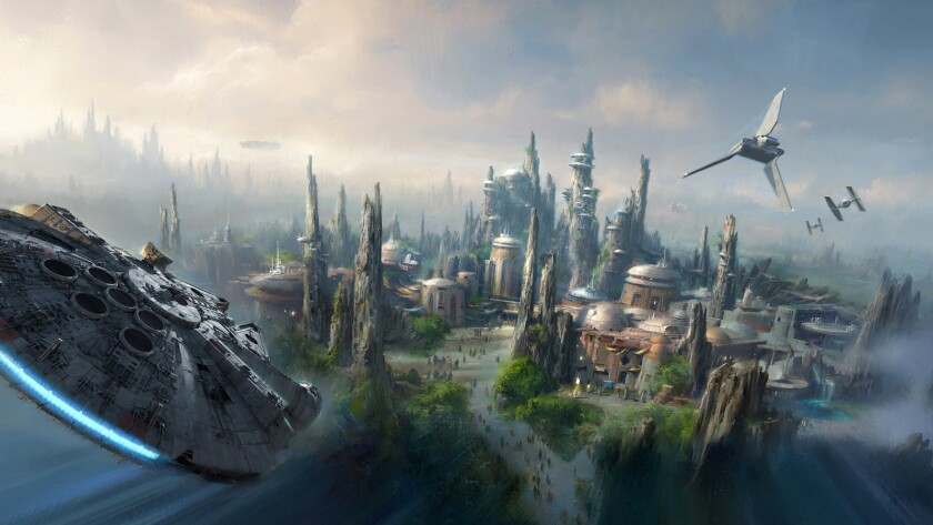 Concept art of the new Star Wars Land coming to Disneyland.