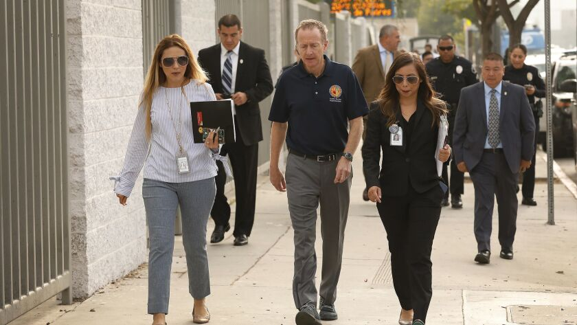 LOS ANGELES, CA – SEPTEMBER 06, 2018: LAUSD Superintendent Austin Beutner walks to the Jordan Down