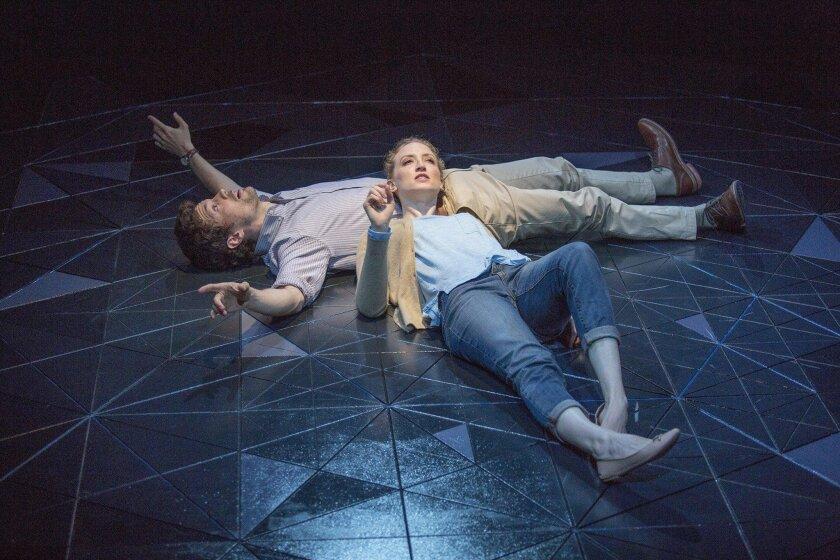 """Christian Coulson (left) stars as Roland and Victoria Frings as Marianne in Nick Payne's """"Constellations,"""" directed by Richard Seer for the Old Globe."""