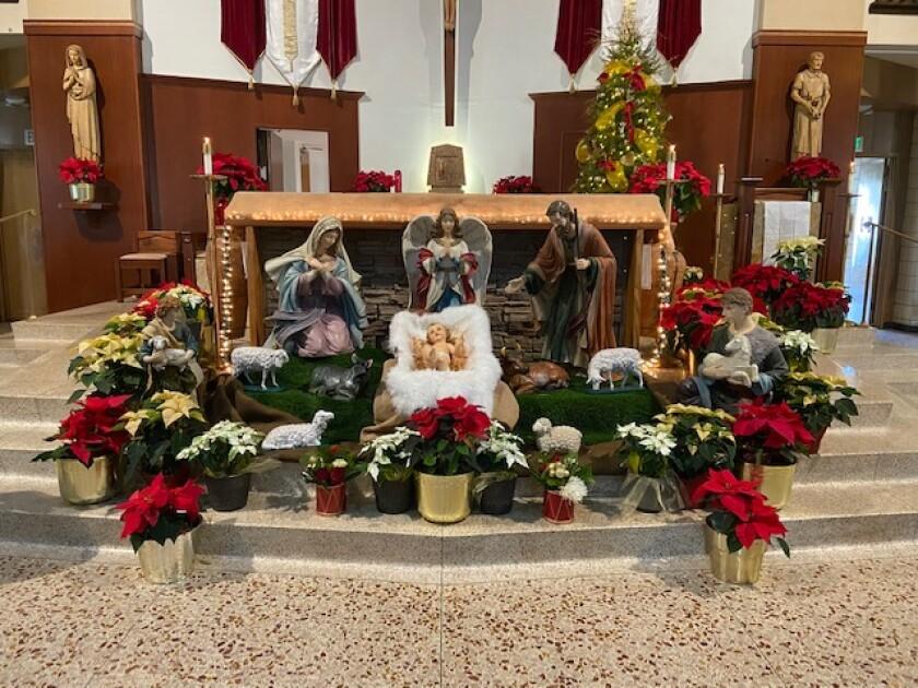 A nativity scene inside St. Rose of Lima parish in Chula Vista.